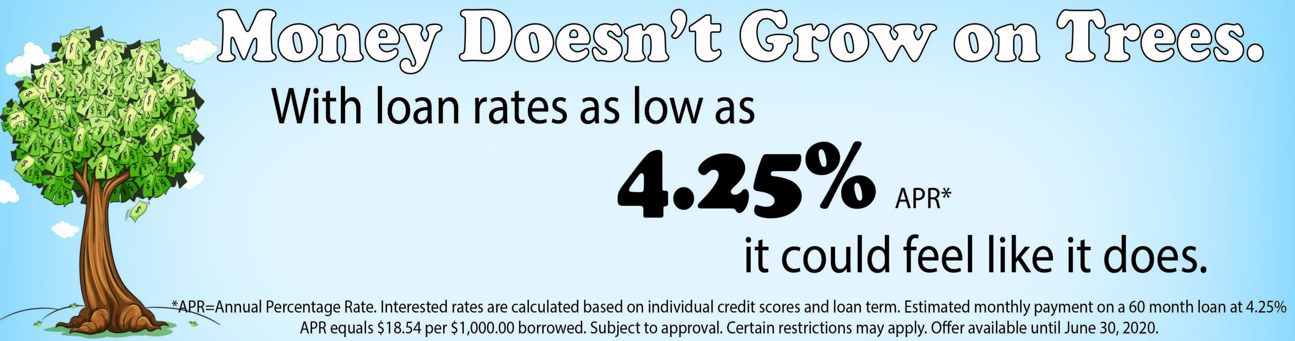 Money doesn't grow on trees. With loan rates as low as 4.25% it could feel like it does. Conditions apply.